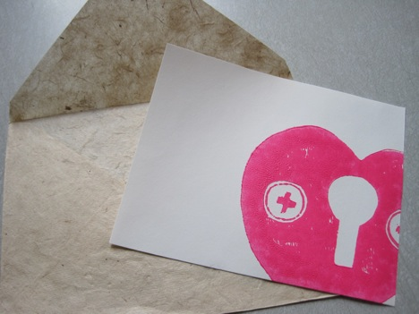 linocut heart print card