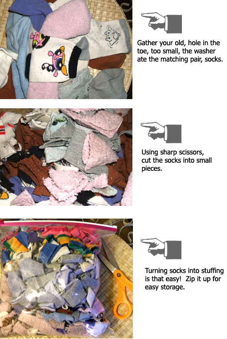 recycled sock stuffing