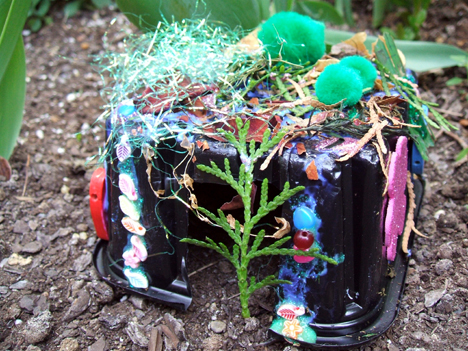 recycled fairy house detail