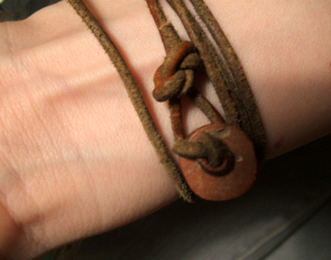 wrap-around leather bracelet