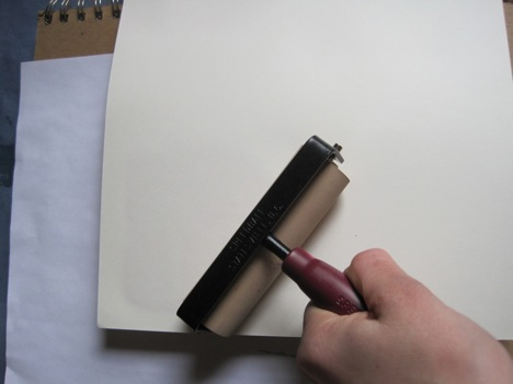 Another method is to place the paper directly onto the inked up block and to rub with a clean, dry brayer.