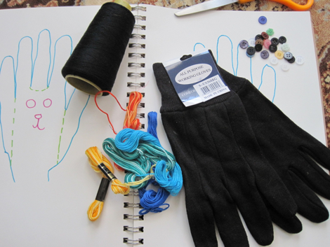 Supplies include: gloves, buttons, colored thread, sharp scissors, needle, stuffing.