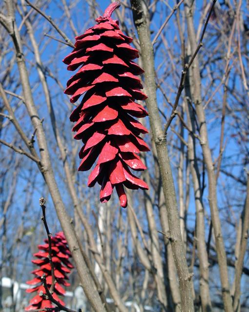 pink neon pine cone ornaments