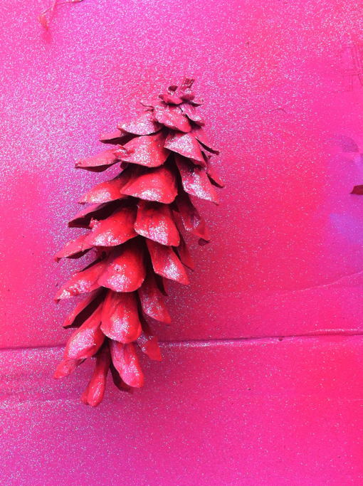 pink neon pinecone ornament craft project