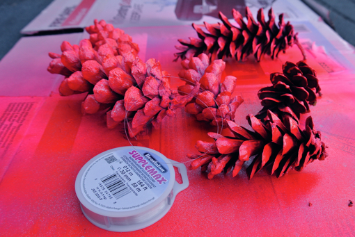 pink neon pine cone ornament craft project