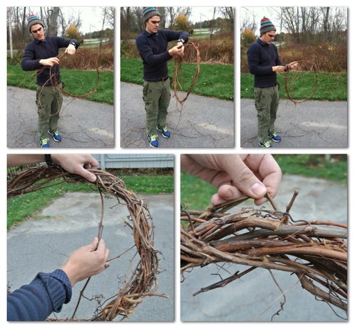 how to make a simple fall wreath out of twigs, vines and pine cones